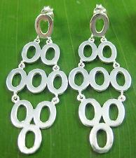 100% Real 925 Sterling Silver plain 9 rings chandelier flexible drop earrings