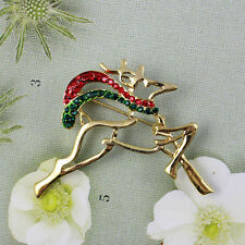 Vintage Style Festive Gold Plated Christmas Reindeer Crystal Brooch Deer Pin