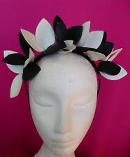 WHITE BLACK LEATHER LOOK LEAVES CROWN FASCINATOR HAT  MELBOURNE CUP DERBY DAY