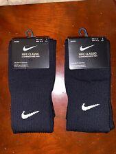 Nike Classic Soccer Socks 2-Pack (L) (Black) Cushioned Knee Height Dri-Fit