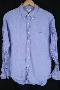 Brooks Brothers Mens sz XL Blue 100% Linen Long Sleeve Button up Shirt Slim Fit