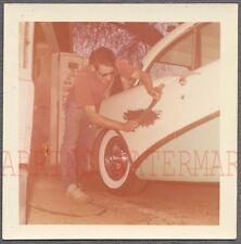 Vintage Car Photo Man Working on 1956 Buick Automobile Paint Job 742286