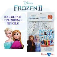 Frozen 2 Children Colouring Set with 6 Colour Pencils & Sticker Sheet Anna Elsa
