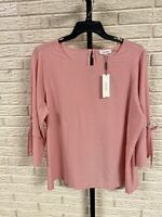 Calvin Klein womens blouse shirt top stretch pink white 0X XL NEW $89.50 #C139