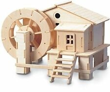 Water-Wheel: Woodcraft Quay Construction Wooden 3D Model Kit P068 Age 7 plus