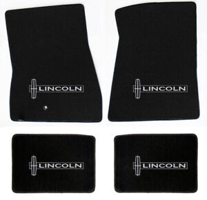 NEW! Black Floor Mats 1998-2010 Lincoln Town Car Embroidered Logo on all 4 Mats
