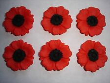 edible poppy flower cake decorations / cupcake toppers x 6