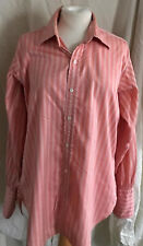 Mens true vintage coral and cream striped shirt by Charles French 16/L