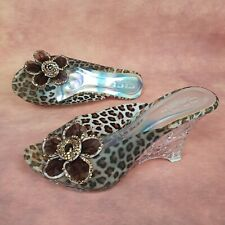 Ladies CICI LONDON Animal Print Flower Clear/Heart Texture Wedge Mules Size 6 UK