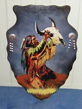 HAND PAINTED INDIAN WOOD WALL PLAQUE