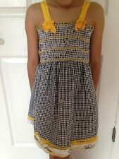 GIRLS~COTTON CHECK SPAGHETTI STRAP SUN DRESS EMBROIDERED FLoWERS size 6