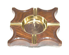 WOODEN BASE OCTAGON SHAPE BRASS ASH BOWL STRIP WITH 4 CIGARS STAND ASHTRAY