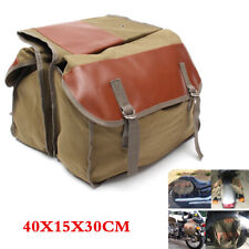 Canvas Universal Motorcycle Seat Saddle Bag Equine Back Pack with flap covers