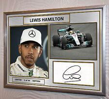 Lewis Hamilton Mercedes F1 2017 plata enmarcado impresión edición limitada firmada