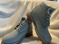 Pre-Owned Timberland Size 2.5 Youth Boys Blue Suede Waterproof Boots A1GTE A0630