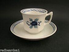 ADAMS WEDGWOOD BALTIC ROSE Vintage China Demitasse Coffee Cup Saucer Blue c1960s