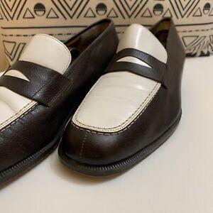Salvatore Ferragamo  Brown & White Loafer 10D Rare!!