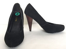 Restricted Women's Black Leather Suede Round Toe High Heel Pumps Size US 8 M