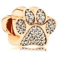 1pcs Gold Crystal Footprint Charm Bead Fits European Bracelet