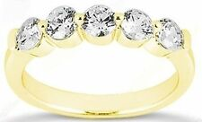 1.51 ct 14k Yellow Gold 0.30 ct 5 Stone Diamond Wedding Ring Anniversary Band
