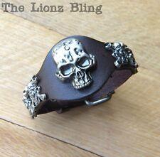 Urban Biker Bracelet Genuine Brown Leather riveted Mechanic Wrench Skulls