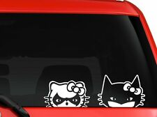 "Hello Kitty Batman And Robin peeking on car truck SUV decal sticker 10"" White"