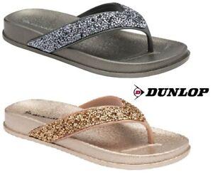 LADIES WOMENS NEW DUNLOP TOE POST SANDALS BEADED SLIP ON FLIP FLOPS SIZE 3 - 8