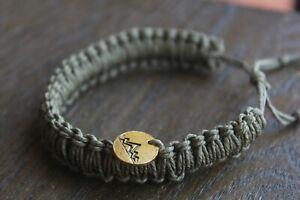 Green Hemp Bracelet & Mountain Medallion