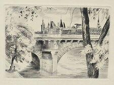 Gravure Originale à la Taille-Douce de René Cottet - Paris - La Conciergerie