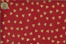 PRETTY! GOLD METALLIC HEARTS ON RED - 2 YARDS
