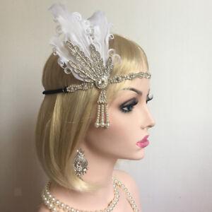 Retro Ladies Flapper Headband Feather 1920s Costume Headpiece Headdress