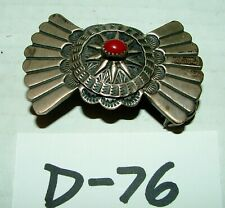#Vintage Belt Buckle w Unique Sterling Silver & Red Stone Design #D76