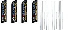 Tattoos & Piercings Windless Flag With Complete Hybrid Pole set- 4 pack