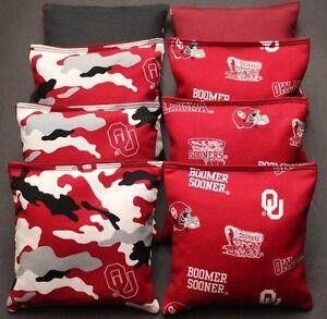 8 CORNHOLE BEAN BAGS made w University of OKLAHOMA SOONERS fabric OU Camo ACA