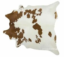Brown and White Brazilian Cowhide Rug Cow Hide Area Rugs Skin Leather Size LARGE