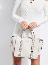 NWT GUESS Eileen Studded Satchel Handbag Purse Off white