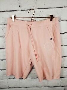 Abercrombie & Fitch Womens Sz XL Cutoff Sweat Shorts Slash Pockets Pink White
