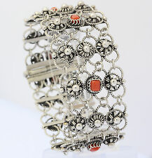 ♦♦♦ Armband in aus Silber mit Koralle Silberarmband Armreif Tracht Folklore ♦♦♦