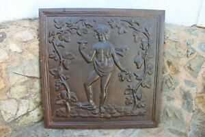 18th Century French Cast Iron Antique Fireback depicting the God Bacchus