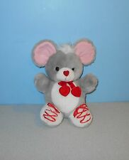 "10"" Valentines Day Stuffed Plush Gray Mouse w/ Red Lace Shoes & Heart Nose"