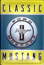 Ford Mustang Classic Logo Blechschild Schild Blech Metall Tin Sign 20 x 30 cm