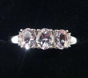 9ct White Gold Ice Pink Kunzite & Diamond Three Stone Ring, Size R1/2