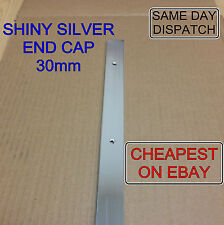SHINY SILVER END CAP 30mm Kitchen Worktop Edging Trim *WITH MATCHING SCREWS*