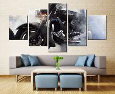 Large Framed Harley Davidson Motorcycle Smoke Canvas Print Wall Home Decor Five