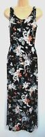 New Marks & Spencer Black Floral print Jersey Holiday Maxi Dress - Size 8 - 22