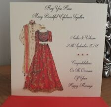 """Handmade Personalised 6"""" Square Indian Wedding Congratulations Card"""