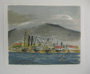 Ernest Hopf 1943 Serigraph of Tropical Harbor Listed WPA and Naval War Artist