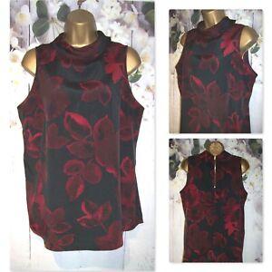 LADIES NEXT TOP SIZE 16, Black & Red Claret Floral evening Occasion Blouse top