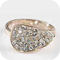 18k rose gold gp simulated diamond engagement wedding ring us 6 1/4 UK Au m 1/2