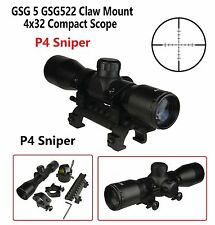 4X32 Compact Tactical Scope P4 Sniper  With Ring GSG 5 GSG522 Claw Mount Combo